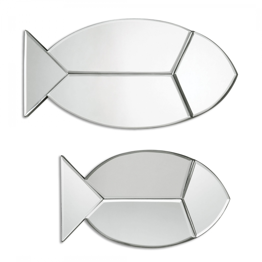 Fish Reflections Unique Wall Mirrors Set Of 2 Uvu08135
