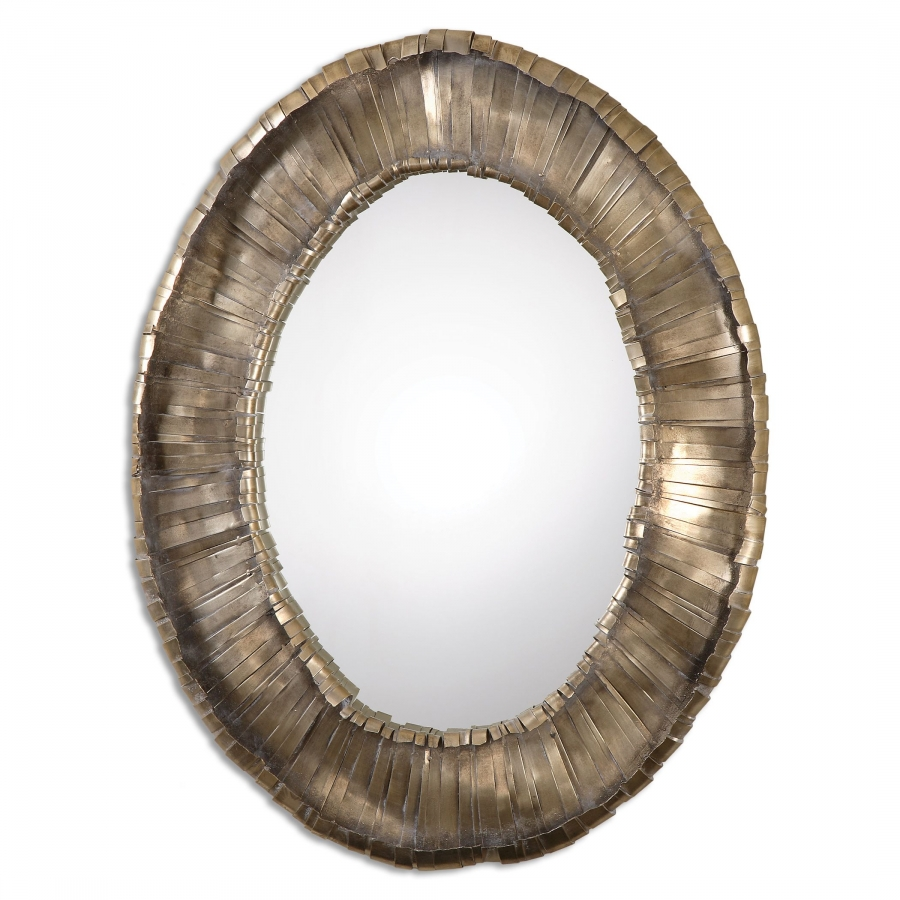 Vevila hand forged metal strips oval mirror uvu12914 for Metal miroir