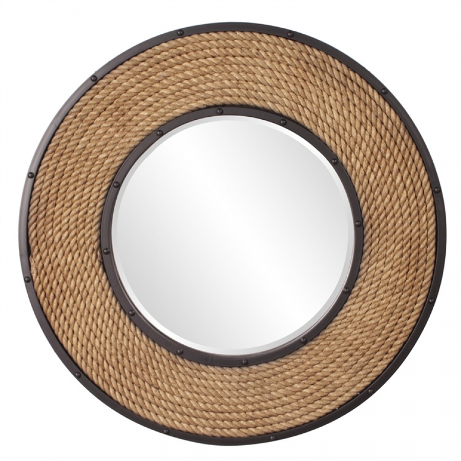 south hampton natural rope frame with black metal inset and border round mirror uvhe13248. Black Bedroom Furniture Sets. Home Design Ideas