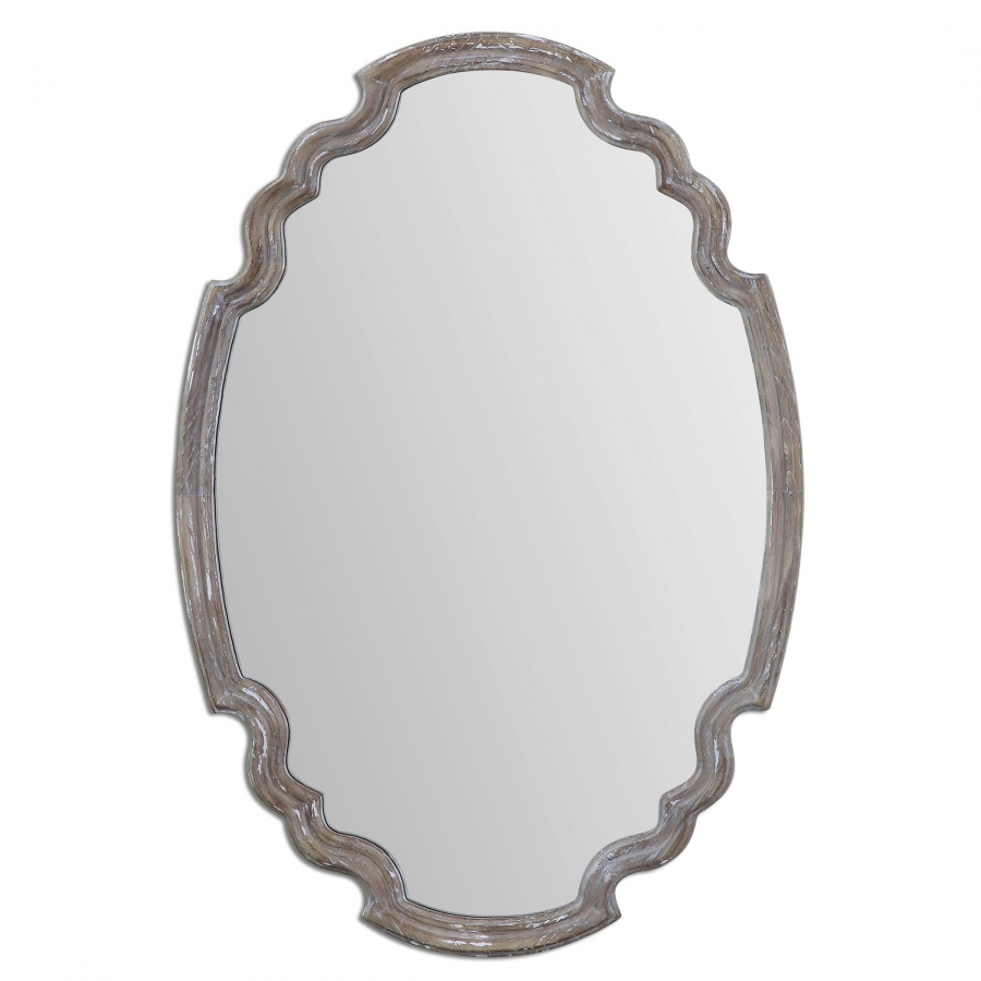 Ludovica aged wood accented with a gray wash unique mirror for Unique mirrors