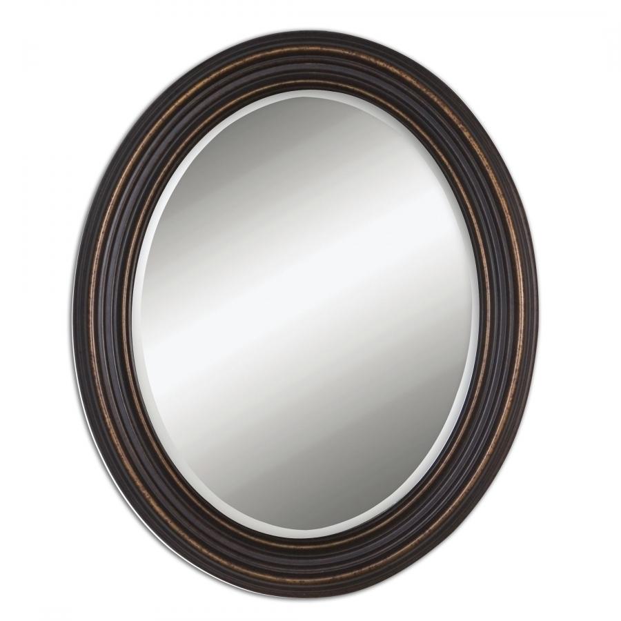 Oiled Bronze Bathroom Mirror: Ovesca Dark Oil Rubbed Bronze Oval Mirror UVU14610