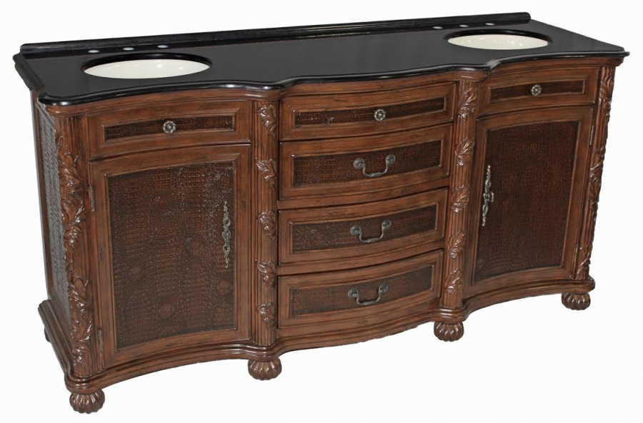 70 Inch Double Sink Bathroom Vanity With Embossed Inlays Uvcdlyb146371