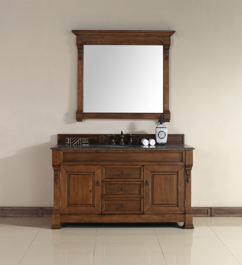 60 Inch Single Sink Bathroom Vanity In Country Oak