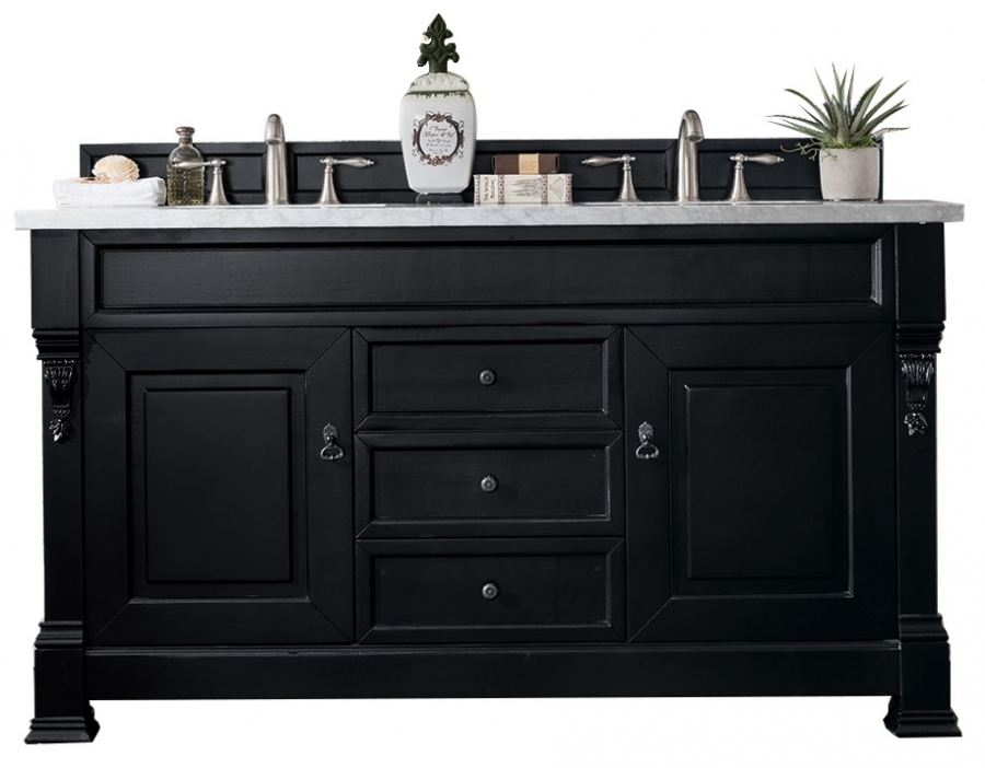 60 Inch Double Sink Bathroom Vanity In Black James Martin