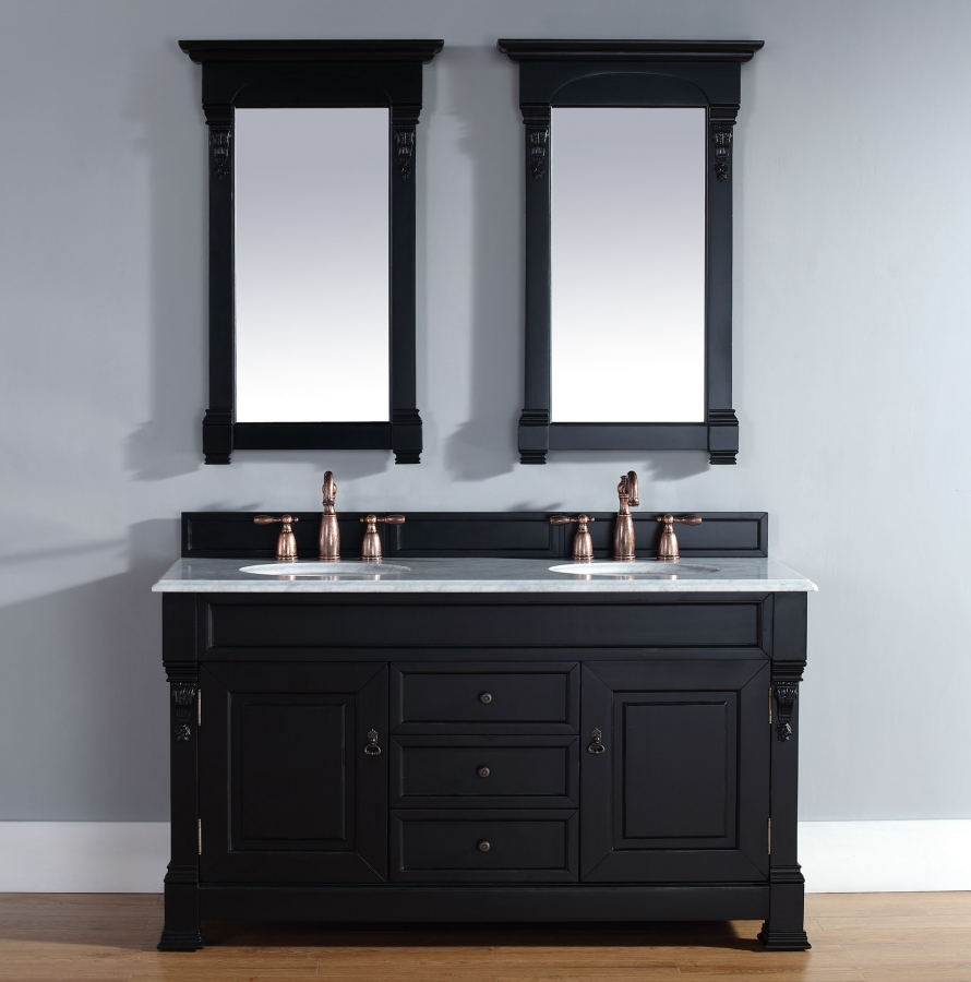 60 inch double sink bathroom vanity in antique black uvjmf147114563160