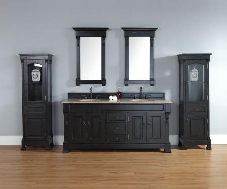 72 Inch Double Sink Bathroom Vanity In Antique Black