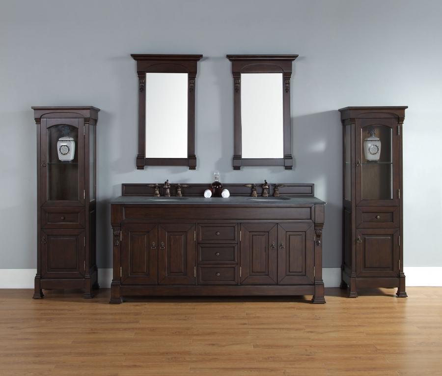 72 Inch Double Sink Bathroom Vanity In Mahogany