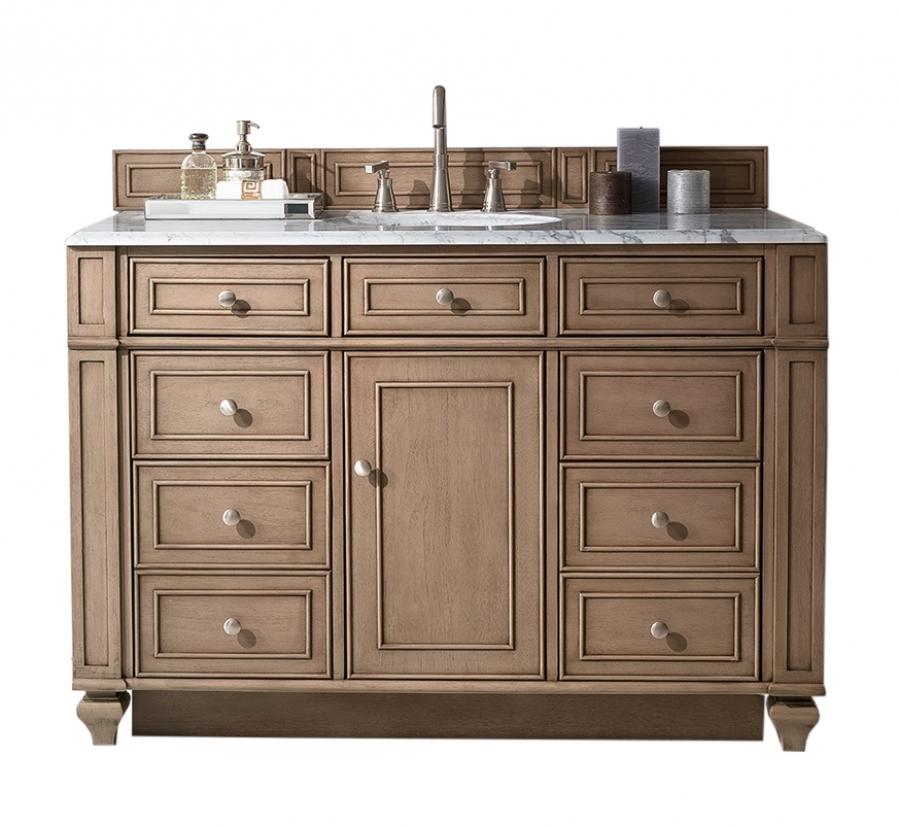 48 Inch Single Sink Bathroom Vanity In White Washed Walnut