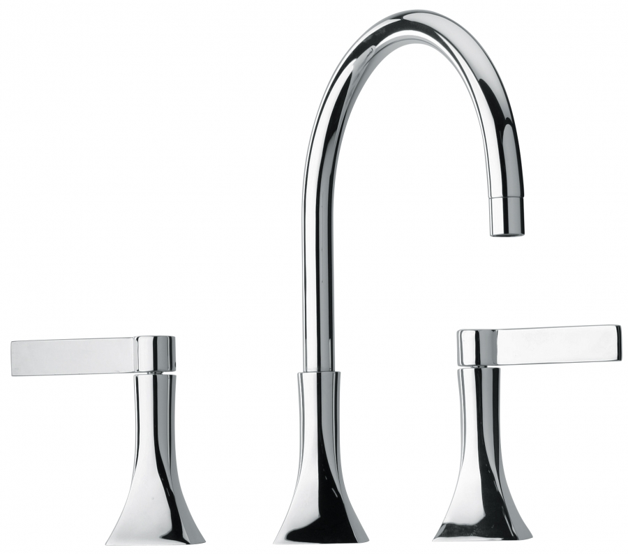 Three Hole Bathroom Faucet : Three Hole Bathroom Vanity Faucet with Finish Option UVJFC17214