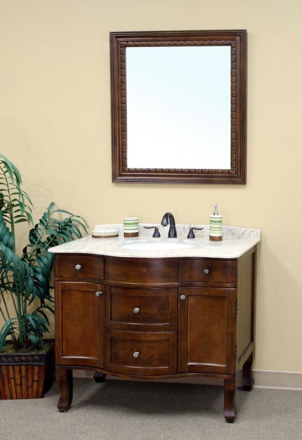 38 Inch Single Sink Bathroom Vanity In Medium Walnut