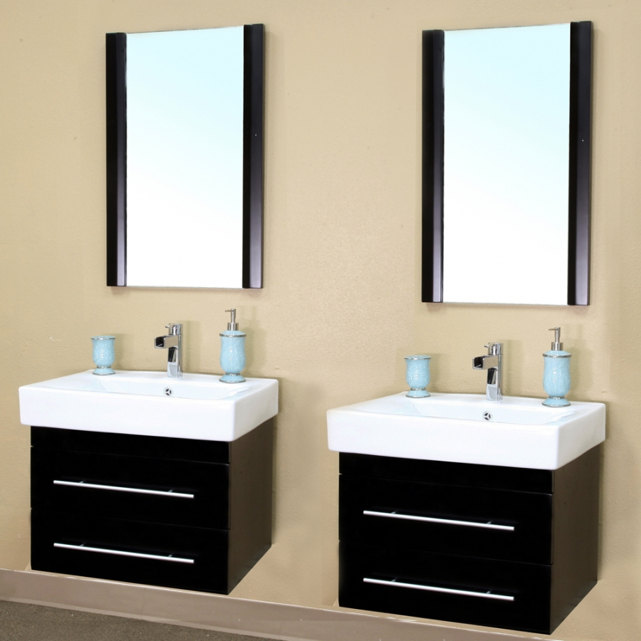 48 inch double sink wall mount bathroom vanity in black for Bathroom wall vanity cabinets