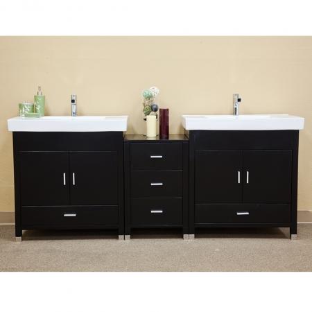 81 Inch Modern Black Double Sink Bathroom Vanity