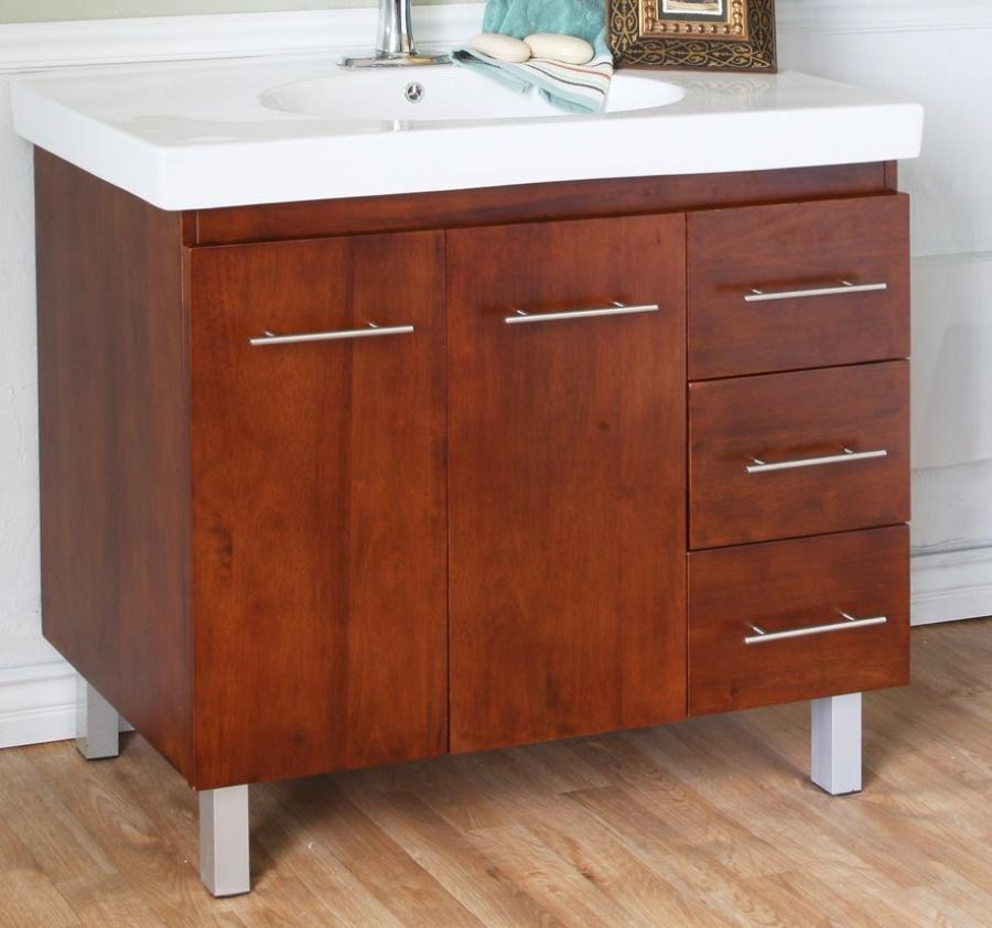 40 Inch single Sink Bathroom Vanity with a Medium Walnut ...