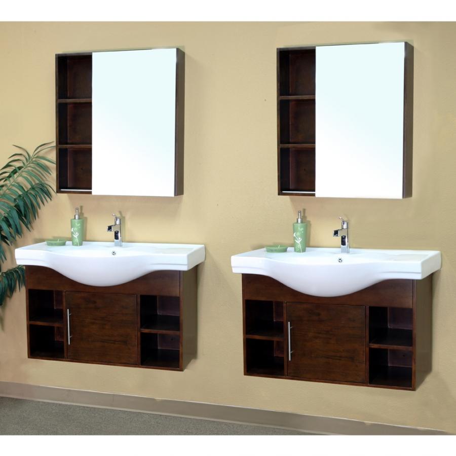 80 Inch Double Sink Bathroom Vanity In Medium Walnut Uvbh203132d80