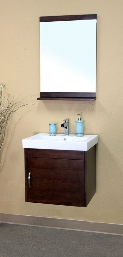 25 Inch Single Sink Bathroom Vanity in Medium Walnut