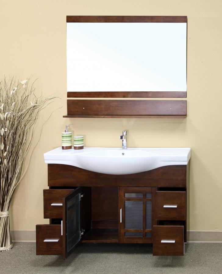 48 Inch Walnut Single Sink Bathroom Vanity With Drawers