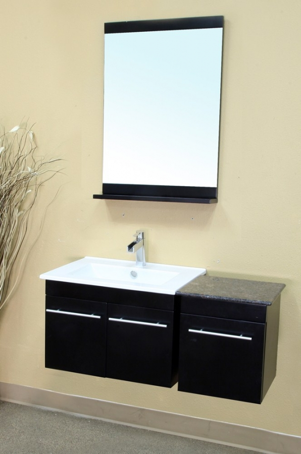 39 Inch Single Sink Wall Mount Bathroom Vanity in Black