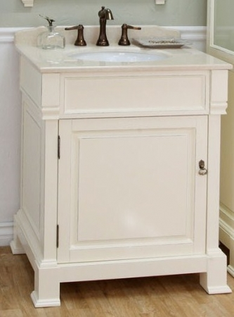 30 Inch White Single Sink Bathroom Vanity With Marble