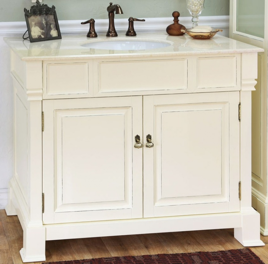 42 Inch Single Sink Bathroom Vanity In Cream White