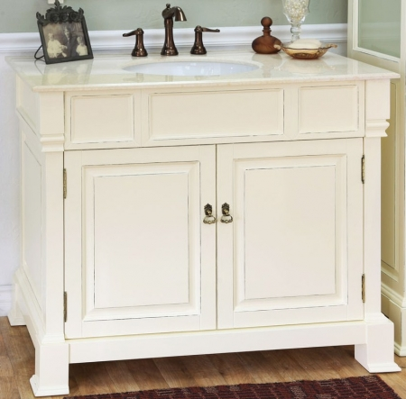 42 Inch Single Sink Bathroom Vanity In Cream White Uvbh205042cr42