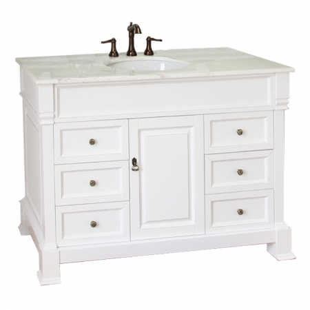 50 inch single sink bathroom vanity with marble uvbh205050wh 50