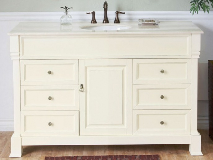 ... Single Sink Bathroom Vanity In Cream White · Loading Zoom