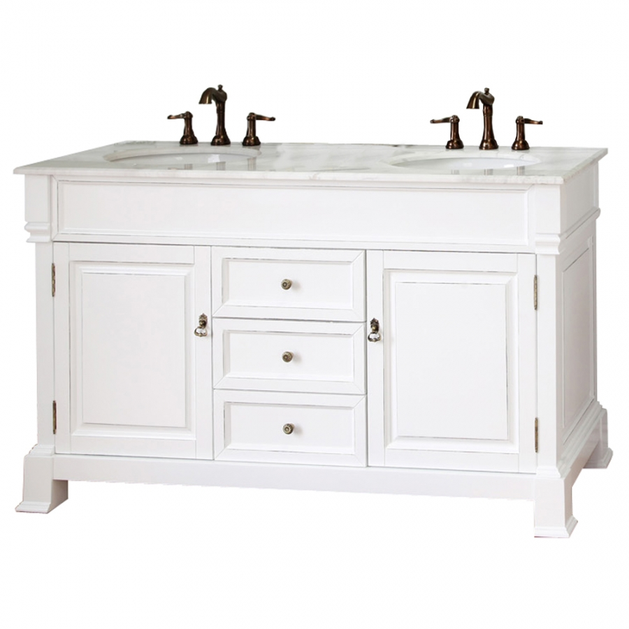 60 white bathroom vanity - 60 Inch Double Bathroom Vanity In White