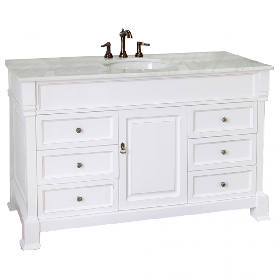 60 Inch Single Sink Bathroom Vanity With White Marble UVBH205060SWH60