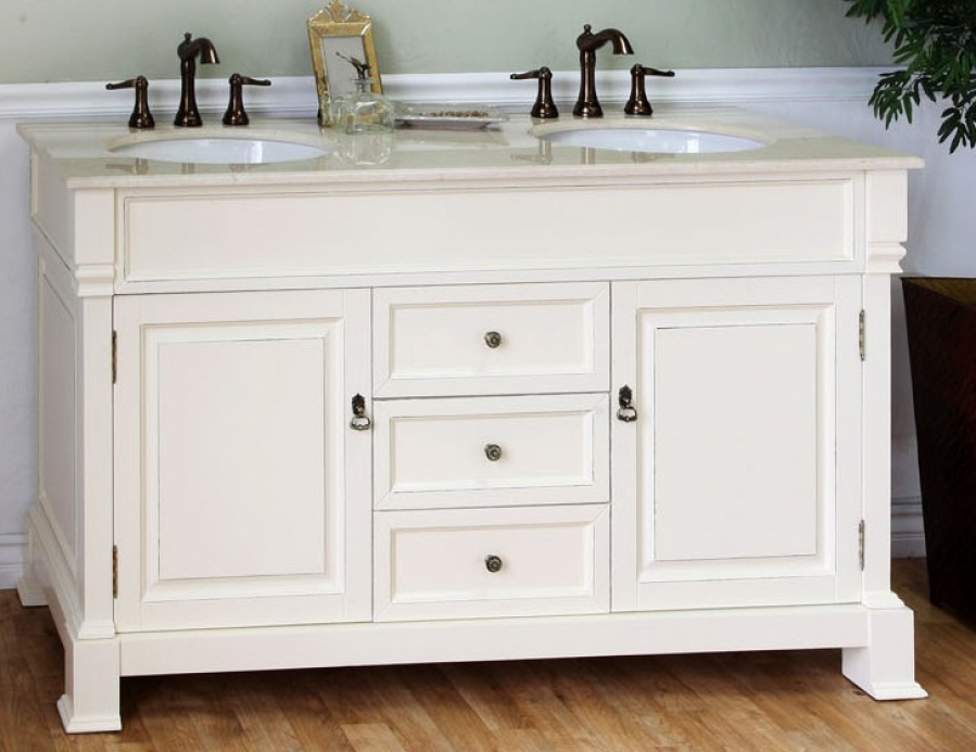 60 Inch Double Sink Bathroom Vanity In Cream White