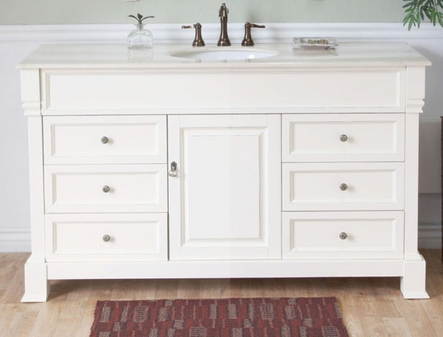 Vanity Single Sink : 60 Inch Single Sink Bathroom Vanity in Cream White UVBH205060SCR60