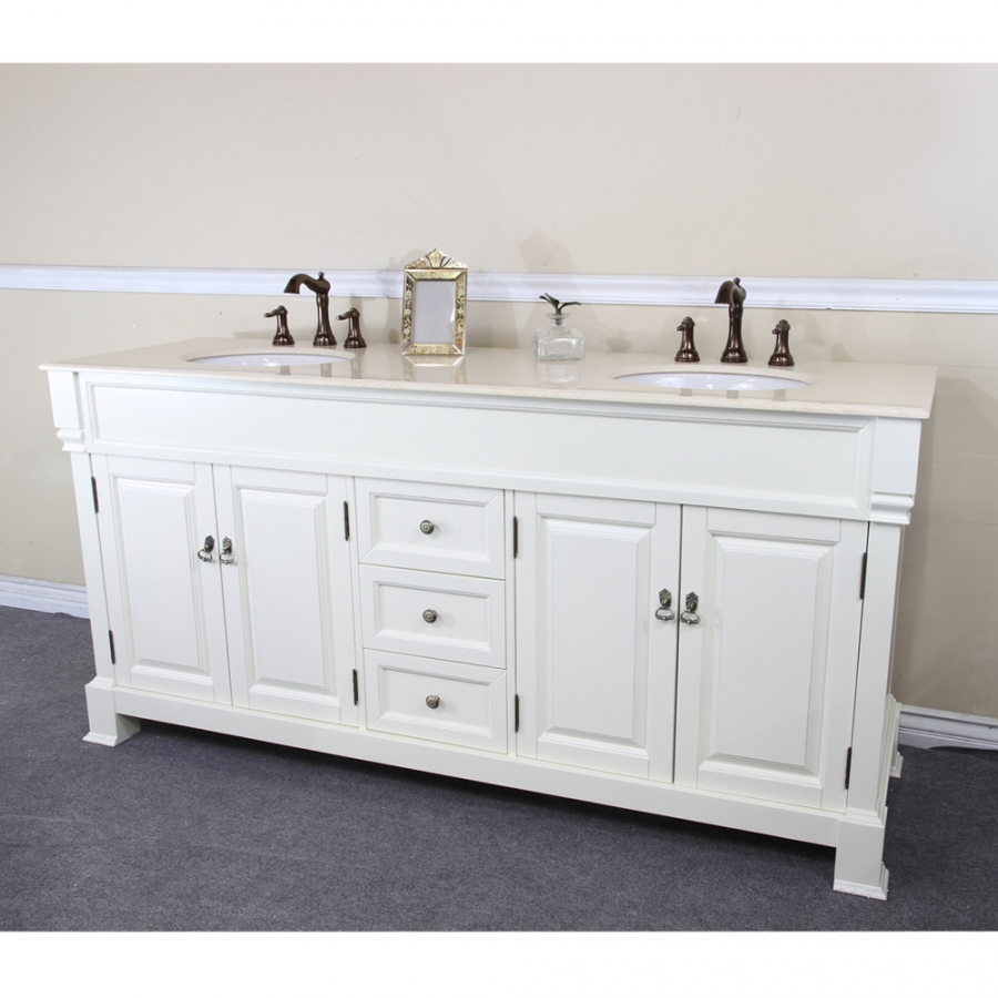 72 inch double sink bathroom vanity in cream white for Bathroom 72 inch vanity