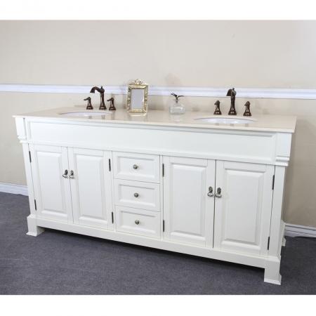 72 Inch Double Sink Bathroom Vanity In Cream White