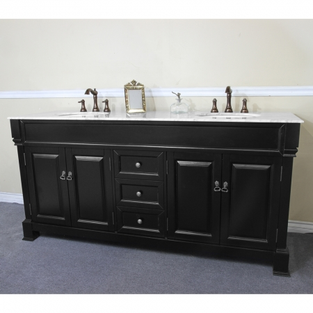 72 inch double sink bathroom vanity with white marble uvbh205072des72 for 72 inch bathroom vanity double sink