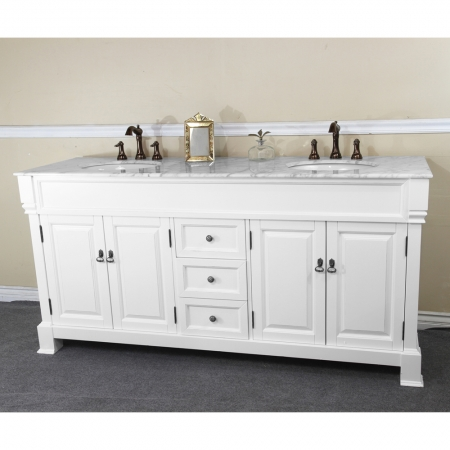 72 inch double sink bathroom vanity in white uvbh205072dwh72 for Pictures of bathrooms with double sinks