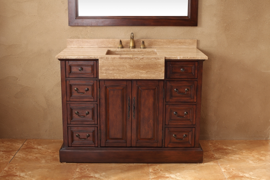 48 inch single sink bathroom vanity in cherry for Bathroom 48 inch vanity