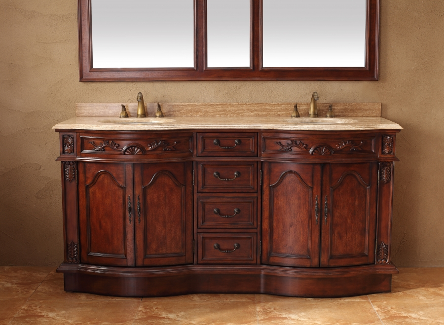 72 Inch Double Sink Bathroom Vanity with Travertine