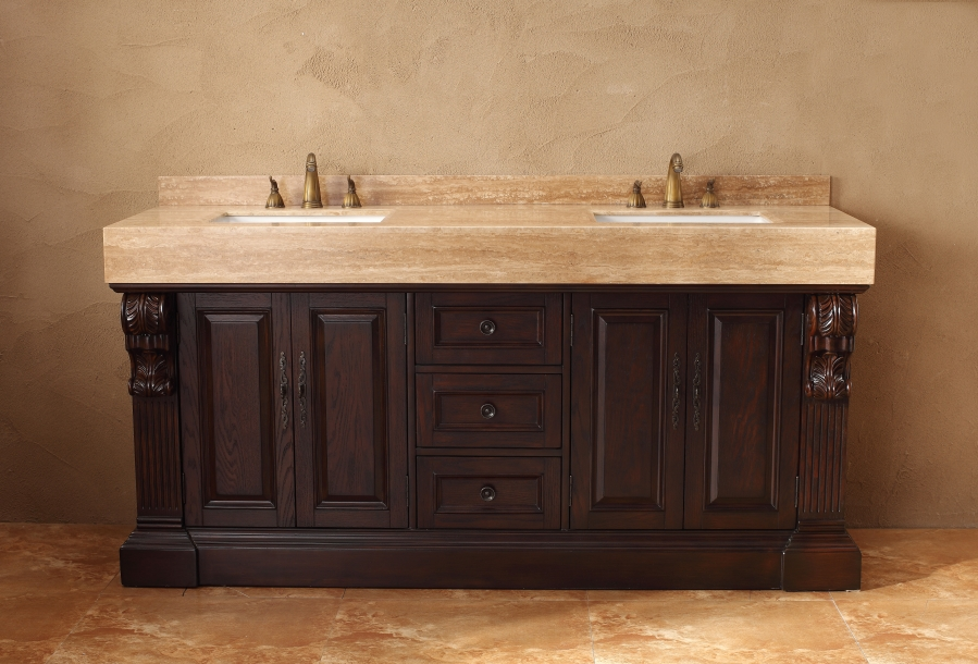 72 inch double sink bathroom vanity in dark cherry for Bathroom 72 inch vanity