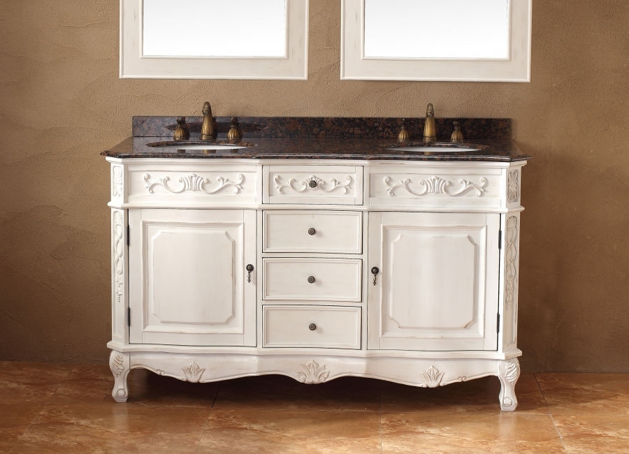 60 inch double sink bathroom vanity in antique white for Antique white double sink bathroom vanities