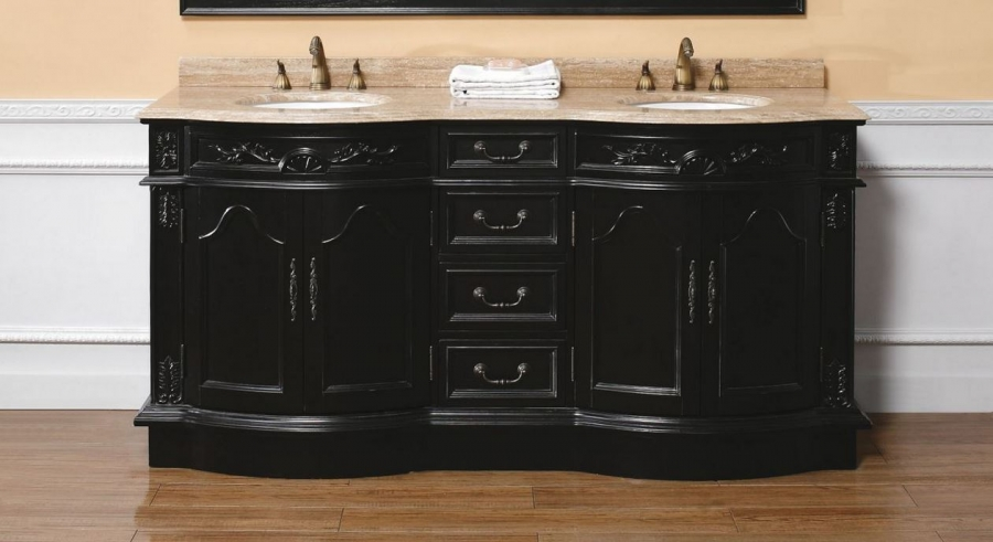 72 Inch Double Sink Bathroom Vanity in Black UVJMF206001552472