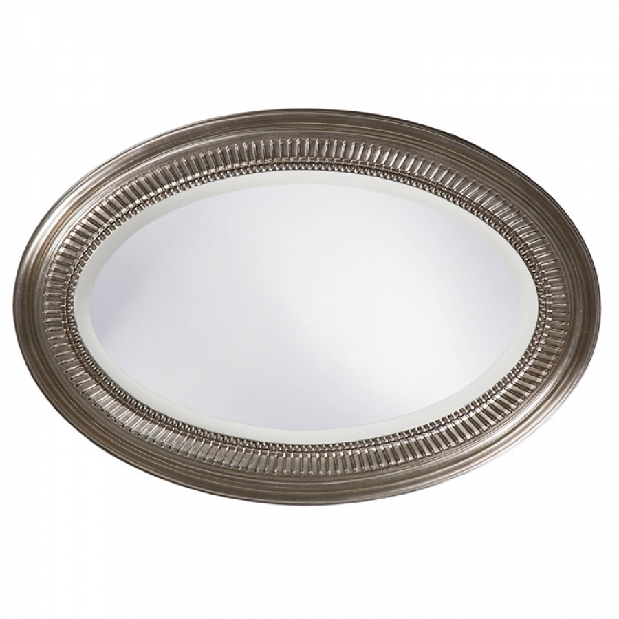 Brushed nickel oval bathroom mirror