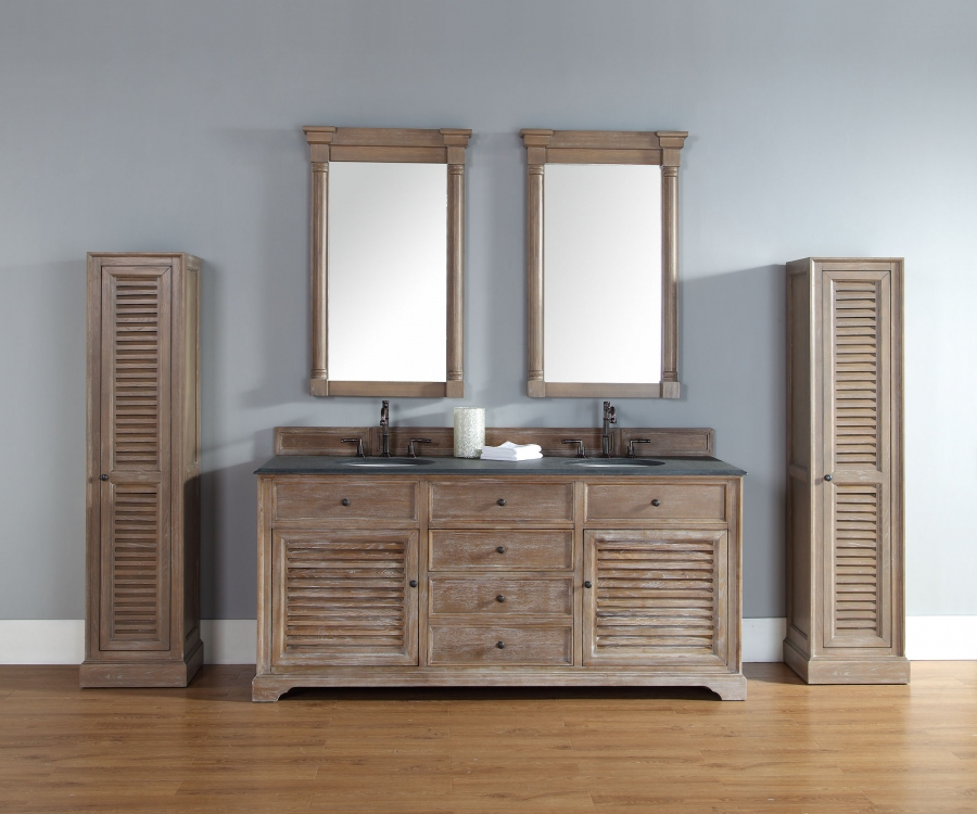 72 Inch Double Sink Bathroom Vanity in Driftwood Finish UVJMF238104571172