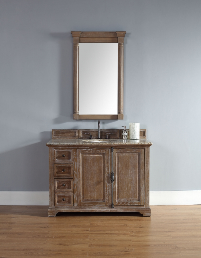 48 inch single sink bathroom vanity in driftwood finish