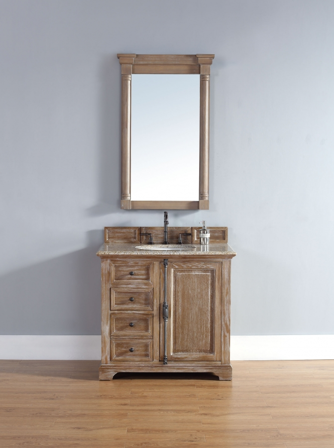 36 Inch Single Sink Bathroom Vanity In Driftwood Finish