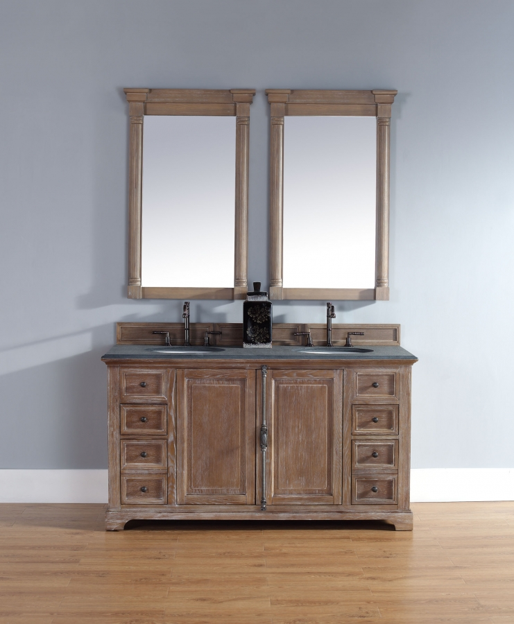 60 Inch Double Sink Bathroom Vanity in Driftwood Finish ...