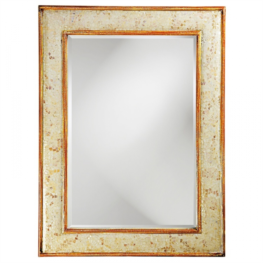 Vanity Lights Overlay Mirror : Ojai Rectangular Natural Shell Overlay with Deep Brown Trim & Inset Mirror UVHE24013