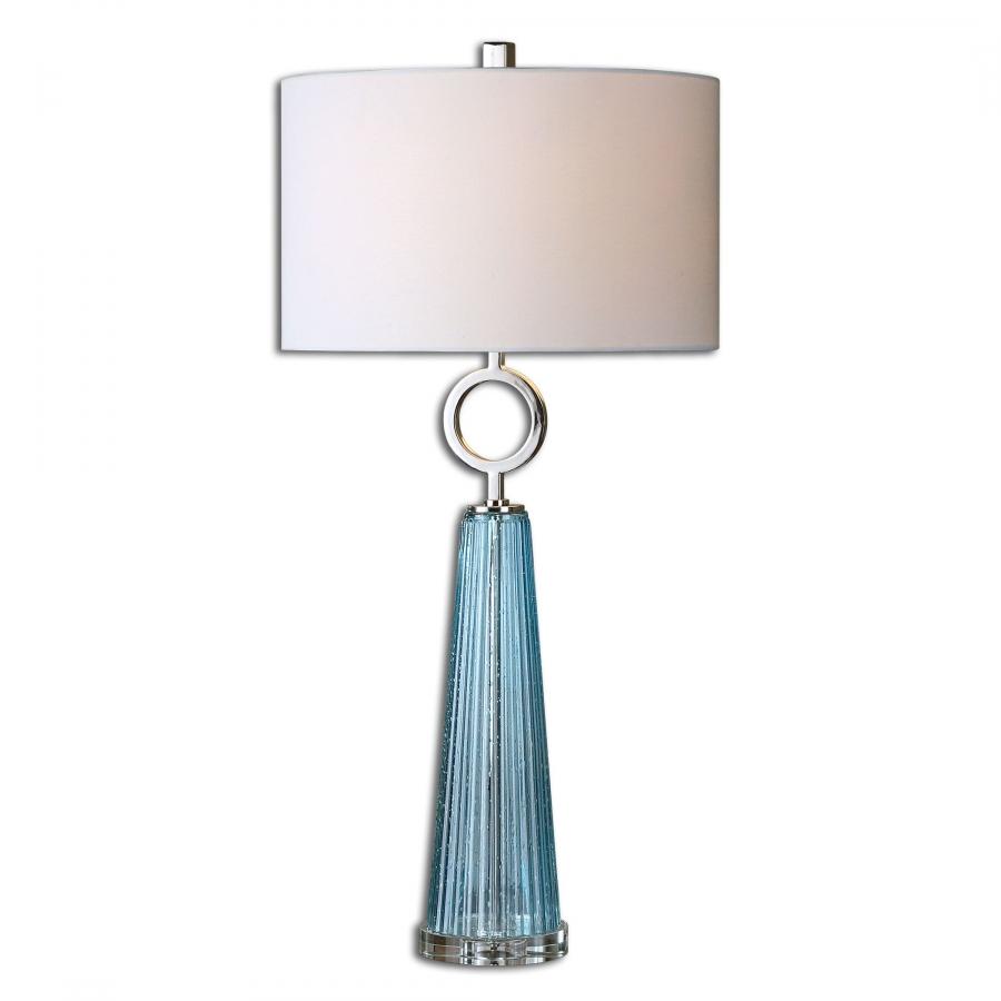 Navier Seeded Blue Glass Table Lamp UVU27698