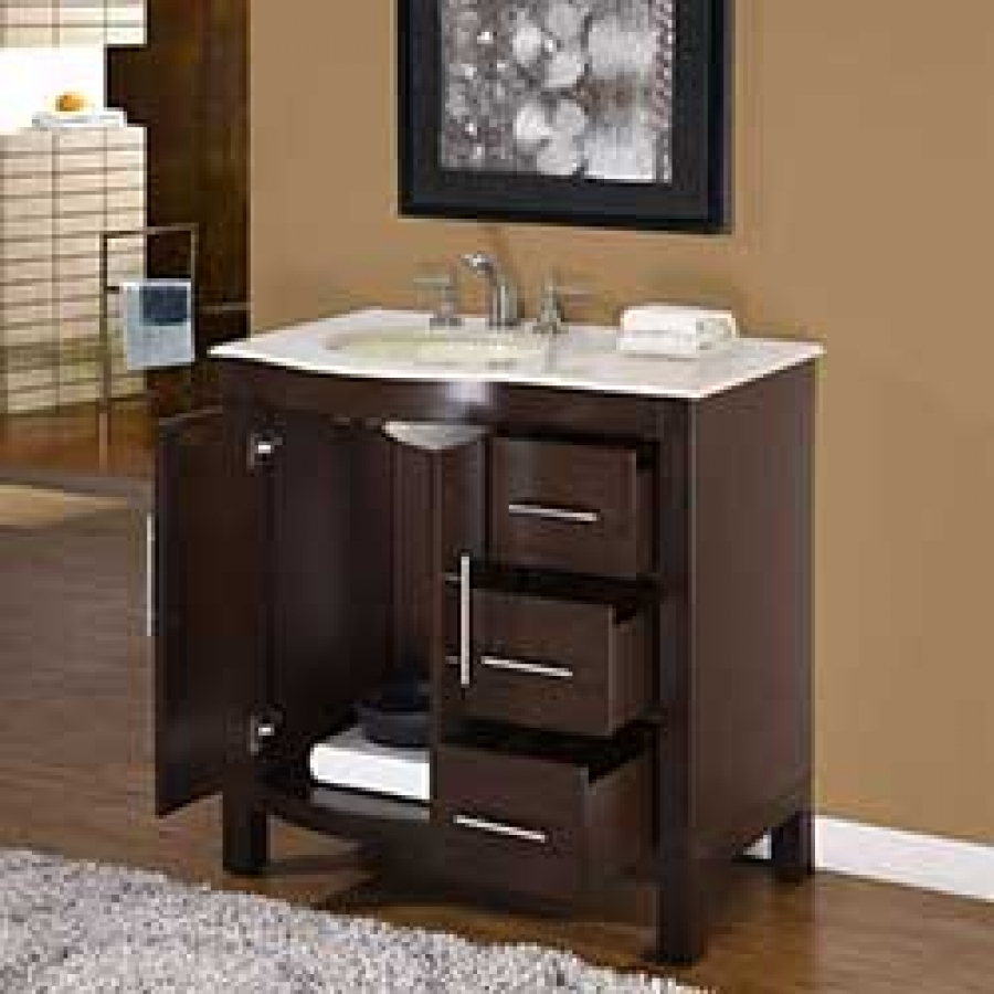 36 Inch Modern Single Bathroom Vanity With Cream Marfil Marble And 2 Doors  3 Drawers UVSR0912L36
