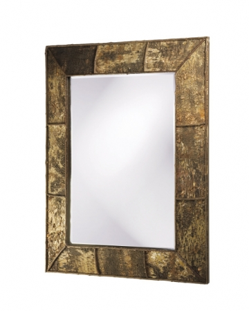 Aggawak Rectangular Birch Bark With Rattan Accents Mirror