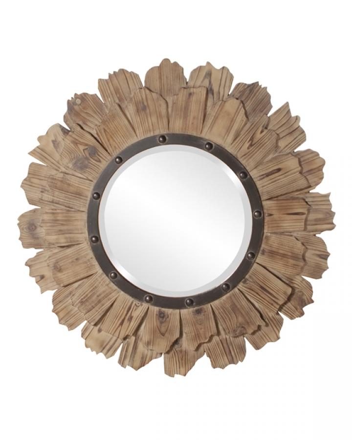 Hawthorne Round Layered Natural Wood Mirror Uvhe37075