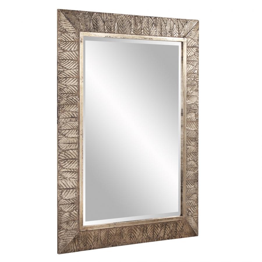 Elrond silver leaf rectangular mirror uvhe37152 - Silver bathroom mirror rectangular ...